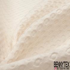 Coton Nid d'Abeille Piqué Bubble Gaufré XL Crème