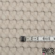 Coton Nid d'Abeille Piqué Bubble Gaufré XL Mastic