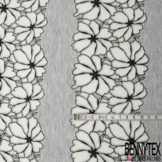 Néoprène Viscose Polyester Gris Chiné Fleur Tropicale Dévorée