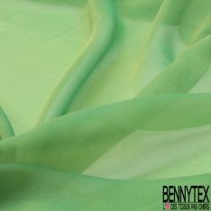 Mousseline de Soie Changeante Jaune Pastel Vert Emeraude