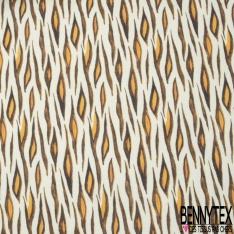 Coton Double Gaze Imprimé Digital Petites branches de Laurier fond Blanc