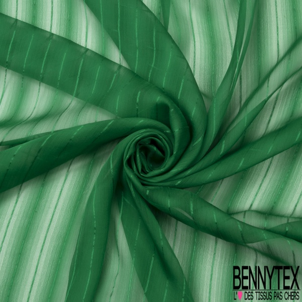 Mousseline de Soie Rayure Verticale la Parisienne Vert smaragdin