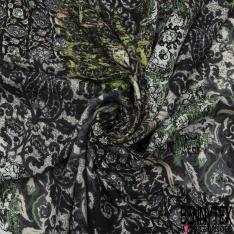 Fibranne Viscose Imprimé Imbrication de Carrés Fantaisies Multicolores