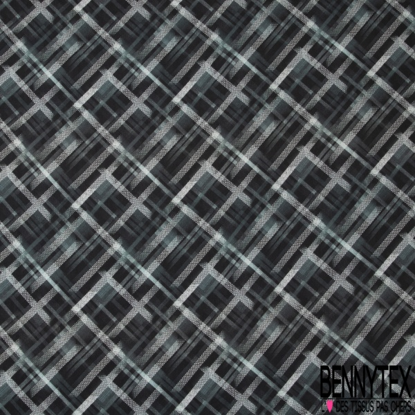 Fibranne Viscose Imprimé Amérindien ton Turquoise noir Jaune fond Ecru
