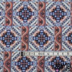 Fibranne Viscose Imprimé Floral Cachemire ton Bleu Noir Blanc