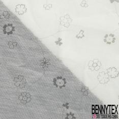 Coton Soie imprimé Petite Fleur Grise fond Blanc Cassé