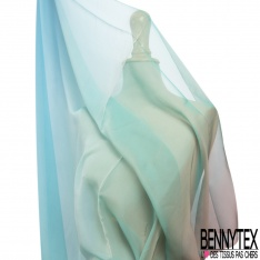 Mousseline de Soie Tie & Die Bleu Turquoise et Rose Gold
