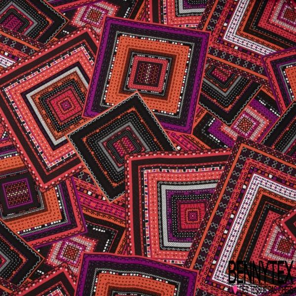 Crêpe Viscose Imprimé Motif Imbrication de Carrés Fantaisies Multicolores