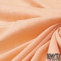 Fibranne Viscose Pashmina Imprimé Rayure Horizontale LUREX Or fond Saumon Pastel