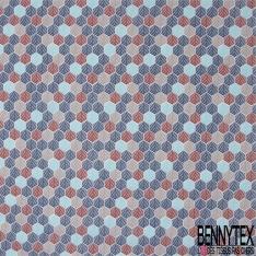 Coton imprimé Alvéoles Striées fantaisies ton Bleu Brique Perle fond Blanc