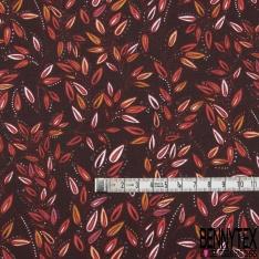 Coton Crétonne imprimé Motif Branchage Stylisé fond Bordeaux Foncé