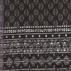 Fibranne Viscose à Base Imprimé Losange Blanc Sur Fond Noir