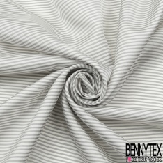 Doublure Viscose Rayure Horizontale gris clair et blanc