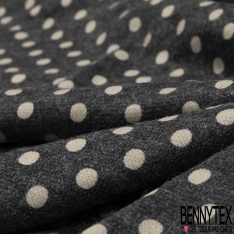 Maille Pull Pois Vanille fond Gris Anthracite Chiné