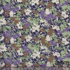 Coton Imprimé Fleurs Verte Mauve...