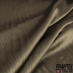 Doublure Polyester Rayure Verticale fond Kaki Givré