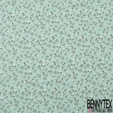 Jersey Coton Elasthanne Imprimé Petit Arbre Stylisé fond Vert d'eau