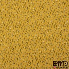 Jersey Coton Elasthanne Imprimé Petit Arbre Stylisé fond Jaune d'or