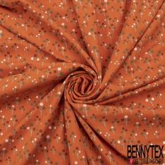Jersey Coton Elasthanne Imprimé Petit Arbre Stylisé fond Orange brûlé