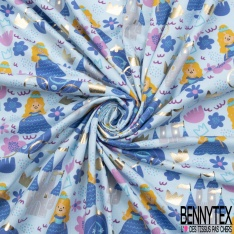 Jersey Coton Elasthanne Imprimé Princesse Carosse et Chateau Mylar Or fond Bleu