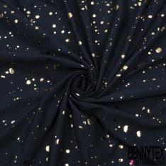 Jersey Coton Elasthanne Imprimé Tâche Mylar Or Fond Bleu Nuit