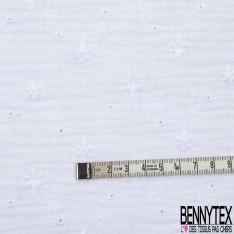 Coton Double Gaze Broderie Anglaise Motif Florale avce Tige et Ajouré Blanc Optique