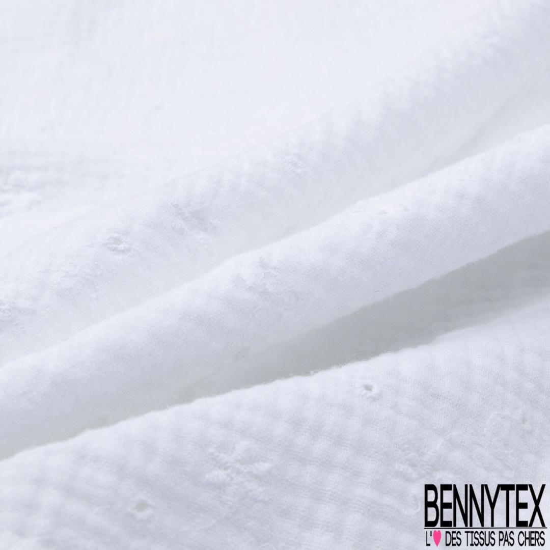Magnifique  tissu broderie anglaise col blanc  100/% coton vente au metre