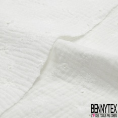 Coton Double Gaze Broderie Anglaise Motif Florale avce Tige et Ajouré Blanc Cassé
