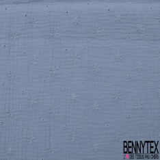 Coton Double Gaze Broderie Anglaise Motif Florale avce Tige et Ajouré Bleu Cérulé