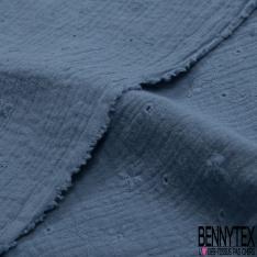 Coton Double Gaze Broderie Anglaise Motif Florale avce Tige et Ajouré Bleu Barbeau