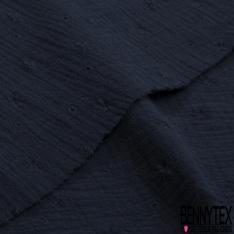 Coton Double Gaze Broderie Anglaise Motif Florale avce Tige et Ajouré Bleu Nuit