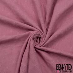 Coton Double Gaze Broderie Anglaise Motif Florale avce Tige et Ajouré Vieux Rose