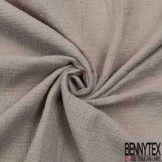 Coton Double Gaze Broderie Anglaise Motif Florale avce Tige et Ajouré Beige Pastel