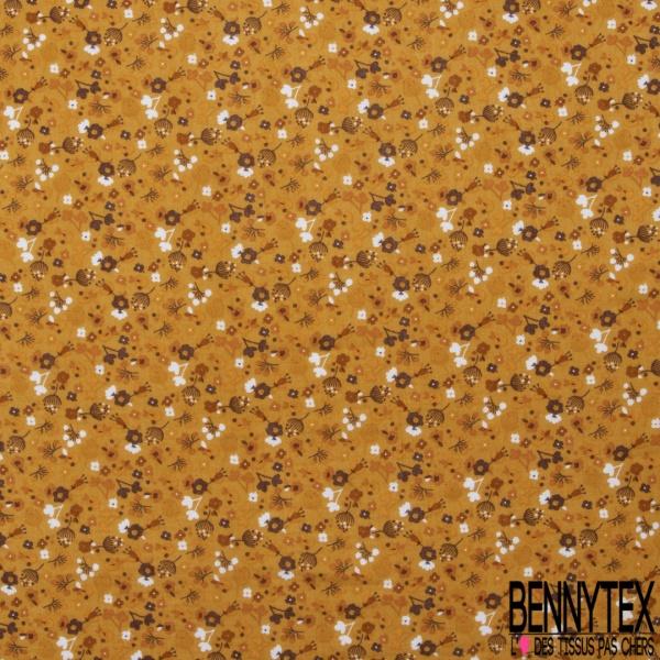 Double Gaze de Coton Imprimé Grand Motif fleuri marron Fond jaune ambre