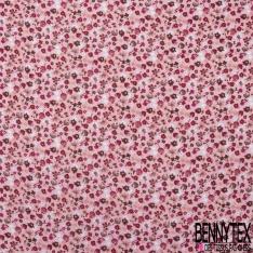Double Gaze de Coton Imprimé Grand Motif fleuri fuchsia Fond rose