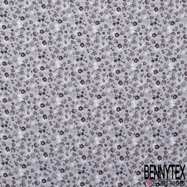 Double Gaze de Coton Imprimé Grand Motif fleuri gris anthracite Fond gris perle