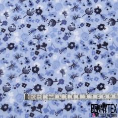 Double Gaze de Coton Imprimé Grand Motif fleuri bleu marine Fond bleu clair