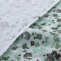 Double Gaze de Coton Imprimé Grand Motif fleuri kaki Fond vert d'eau