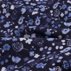 Double Gaze de Coton Imprimé Grand Motif fleuri bleu clair Fond bleu marine