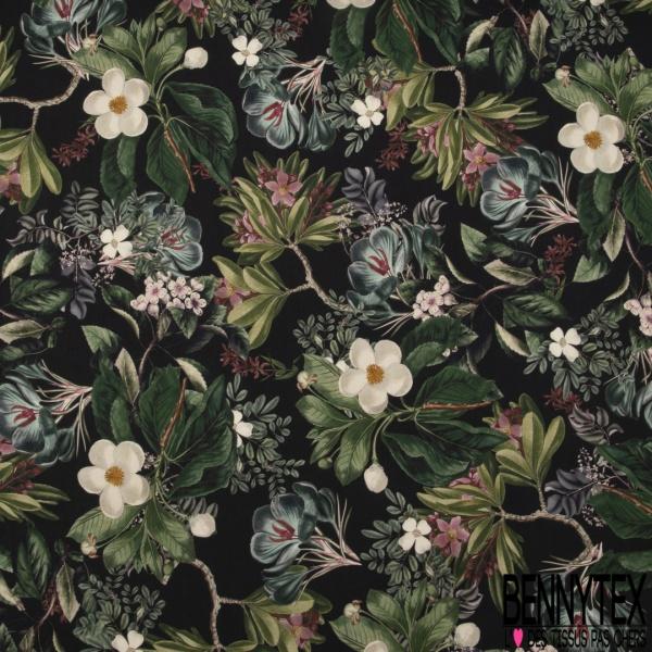 Fibranne Viscose impression Papier Peint Floral Vintage fond Noir