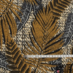 Fibranne Viscose Lourde impression Grande végétation Tropicale Ecru Ocre Noir