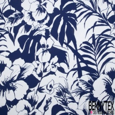 Crêpe Viscose Imprimé Grand Motif Floral Tropical Marine Blanc