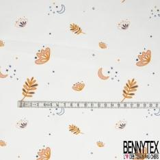 Coton imprimé Motif Lune et Feuille d'Automne fond Blanc