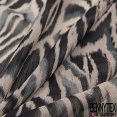 Mousseline Voile Polyester Rayure Verticale Lurex Or Motif Marbrure Bleu Noir Sable