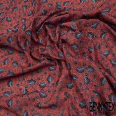 Crêpe Polyester Imprimé Fleur Cachemire Bleu fond Vermillon effet Texturé crépon