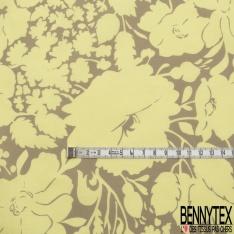 Popeline Coton imprimé Motif Floral Anis Pastel fond Taupe