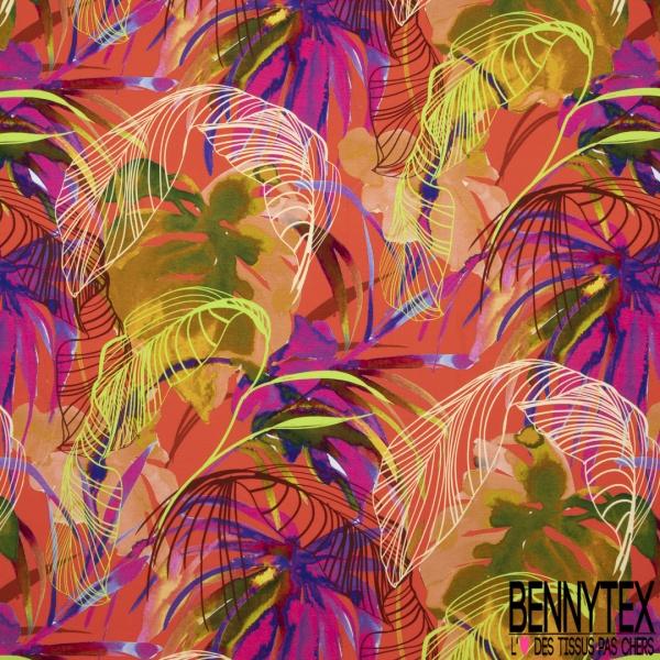 Jersey Viscose Grande Végétation Tropicale Multicolore Vitaminée