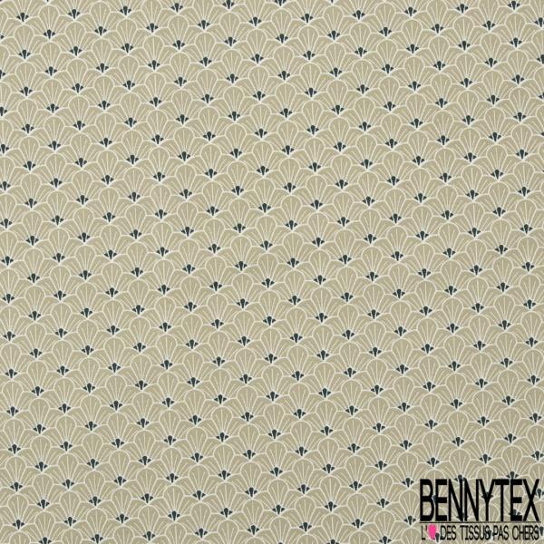Coton imprimé Japonisant Demi Fleur Vert Tilleul