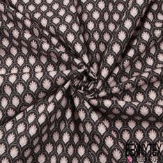 Coton Crétonne imprimé Motif bouquet floral japonisant ton noir
