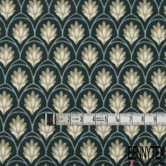 Coton Crétonne imprimé Motif bouquet floral japonisant ton bleu pétrole